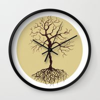 tree of life Wall Clocks featuring life tree by Mihai Paraschiv
