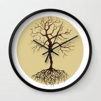 tree of life Wall Clocks featuring life tree by Mihai Paraschiv
