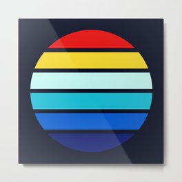 Retro Rainbow Color Stripes In Circle - Emon Metal Print