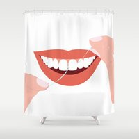 teeth Shower Curtains featuring tEEth by rabuzina