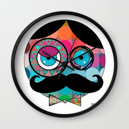 Mr. Mustache Man Psychadelic Wall Clock