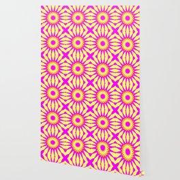 Pink & Banana Yellow Pinwheel Flowers Wallpaper