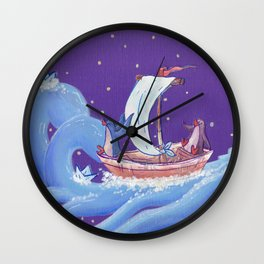 Penguins Travel on Sailboat on the Ocean in the Stars Wall Clock