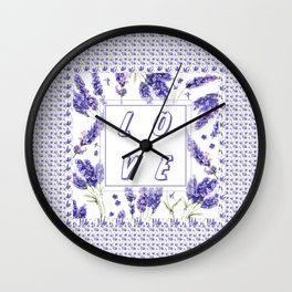 Elegant LOVE Watercolour Lavender Floral Pattern Wall Clock
