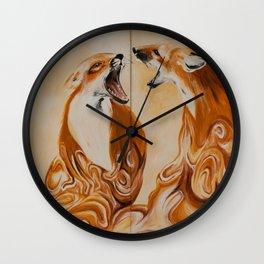 Coffee Creamer Foxes Wall Clock