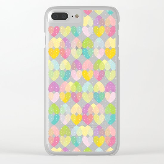 Colorful Sweet Candy Heart Pattern I Clear iPhone Case
