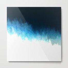 Modern Dark Blue and White Abstract Treeline Metal Print