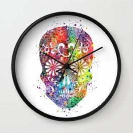 Sugar Skull Watercolor Print Wall Poster Home Decor Wall Clock