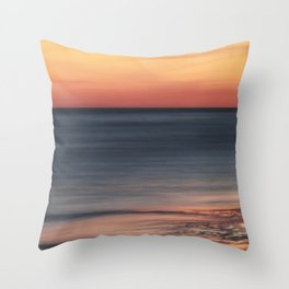 Fiery Sunset Over Galveston Beach Texas Throw Pillow