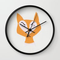 mr fox Wall Clocks featuring Mr Fox by Lydia Coventry