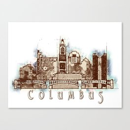Columbus City, Ohio Skyline Graphic Canvas Print