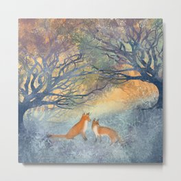 The Two Foxes Metal Print