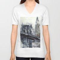 brooklyn bridge V-neck T-shirts featuring Brooklyn Bridge  by Kasia Pawlak
