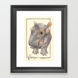 Fiona the Hippo - Bashful Framed Art Print