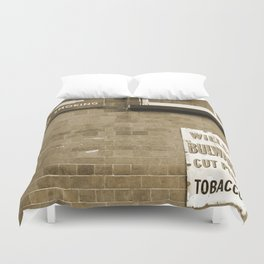 Vintage Railway Signs in Sepia Duvet Cover