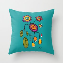Flower Pot in Color on Teal Throw Pillow