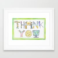biology Framed Art Prints featuring Biology Thank You card by SaelifeStudio