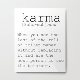 Funny Definition Of Karma Funny Quote Funny Wall Art Printable Wall Art Typography Print Comic Quote Metal Print
