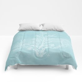 White Coral on Pale Blue Comforters