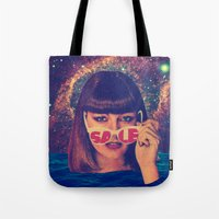 sale Tote Bags featuring Sale! by Serra Kiziltas