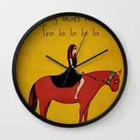 pony Wall Clocks featuring Red Pony by Poorboymark
