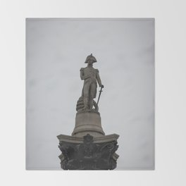 Admiral Nelson Statue atop Nelson's Column Trafalgar Square London England Throw Blanket