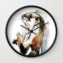 Otter Amblonyx cinereus watercolor Wall Clock