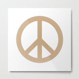 Peace (Tan & White) Metal Print
