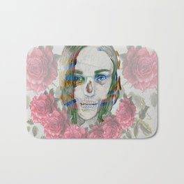 girl and flowers color Bath Mat