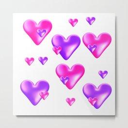 Pink and Purple Hearts Metal Print