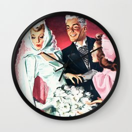 Vintage Illustration Wedding of Bride and Groom Wall Clock
