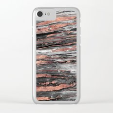 Modern rose gold abstract marbleized paint Clear iPhone Case