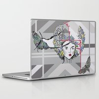 moth Laptop & iPad Skins featuring Moth by WaterLily