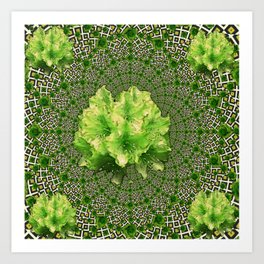 Lime Flowers & Green Irish Roses Optical Art Art Print