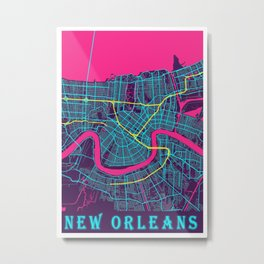 New Orleans Neon City Map, New Orleans Minimalist City Map Metal Print
