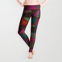 squares of colors and shreds Leggings