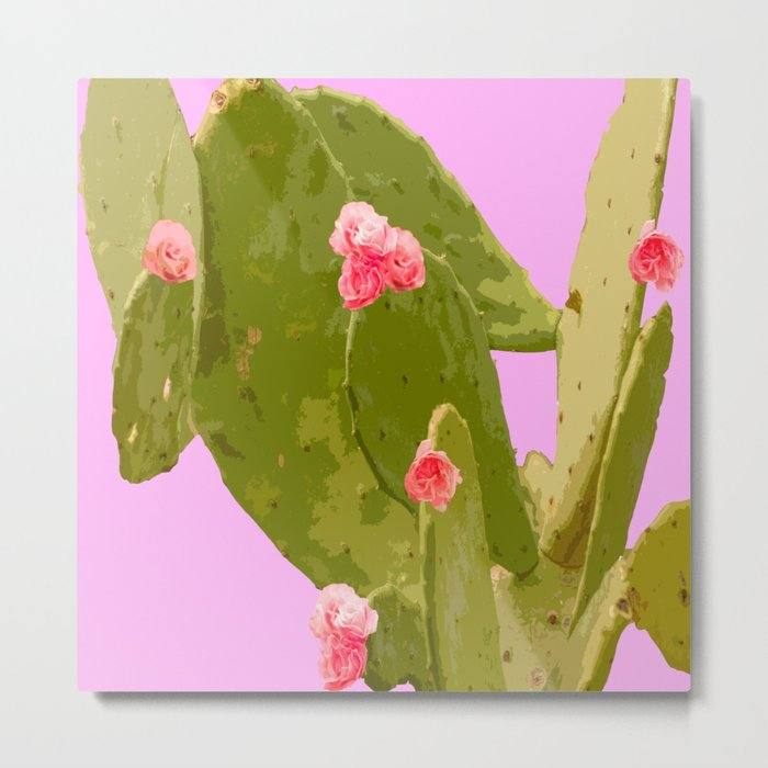 Green cactus with pink flowers on a bright pink background - summer mood Metal Print