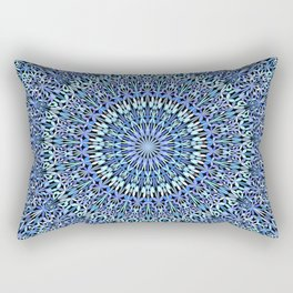 Blue Garden of Life Mandala Rectangular Pillow