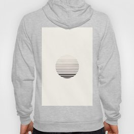 Grey Mid Century Modern Abstract Minimalist Circle Sunset Stripes Ombre Watercolor Geometric Art Hoody