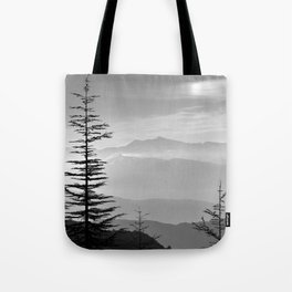 Rainbow clouds at the mountains at sunrise. BW Tote Bag