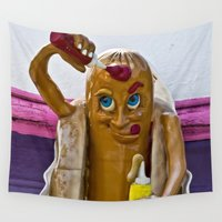 hot dog Wall Tapestries featuring Hot Dog Dressing Up by Photography By MsJudi