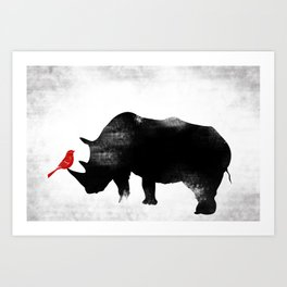 Rhino with bird Art Print