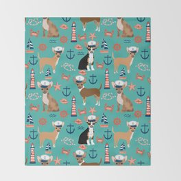 Chihuahua nautical sailor dog pet portraits dog costumes dog breed pattern custom gifts Throw Blanket