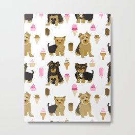 Yorkie ice cream cones sweet treat food dogs pet pet portraits dog art animal fur baby yorkshire  Metal Print