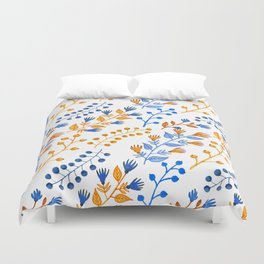 Orange brown navy blue hand painted watercolor berries floral Duvet Cover