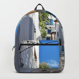 Old street in Santorini Photography  Backpack