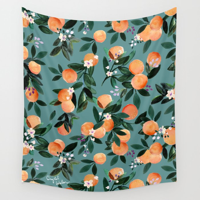 Dear Clementine - oranges teal by Crystal Walen Wall Tapestry