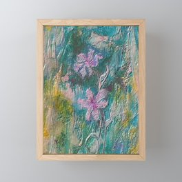 Embossed Impressionist Pink flowers with green background Framed Mini Art Print