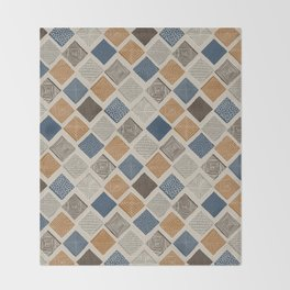 Tuscan Tiles Dark Orange and Gray Throw Blanket