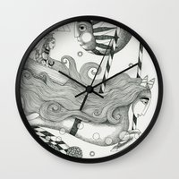 lake Wall Clocks featuring East of Blue Lake by Judith Clay